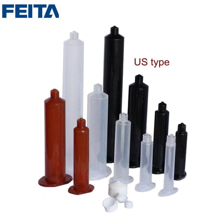 US Type 3CC 5CC 10CC 30CC 55CC 100CC 300CC 500CC Plastic Piston Glue Dispensing Syringes Barrel Glue Cylinder for Glue Dispenser