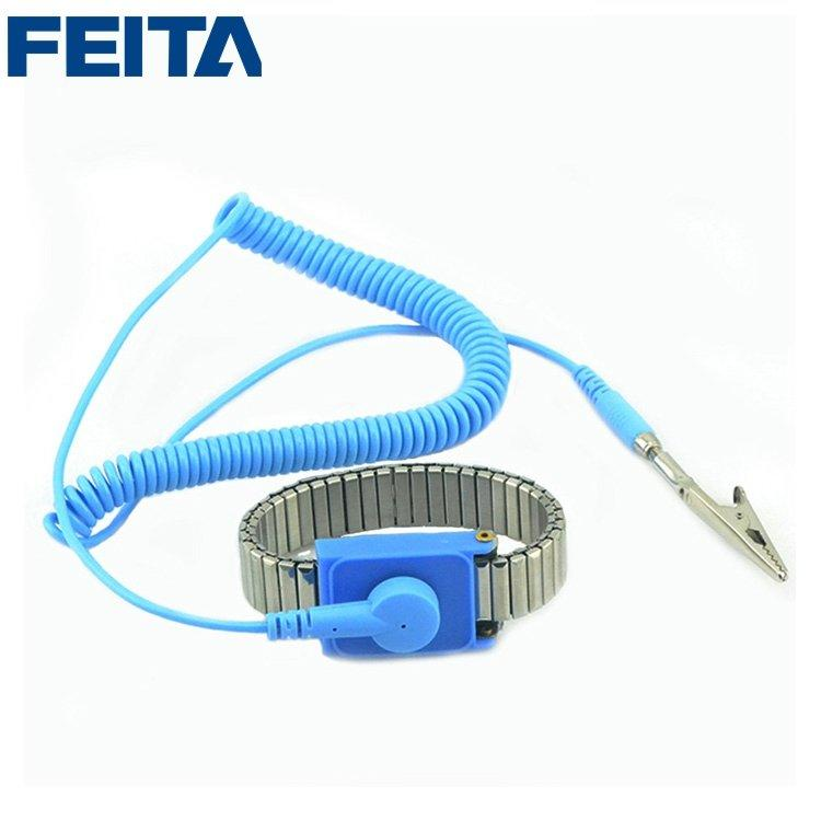 Metal Material Blue ESD Wired Wrist Straps with PVC Wire