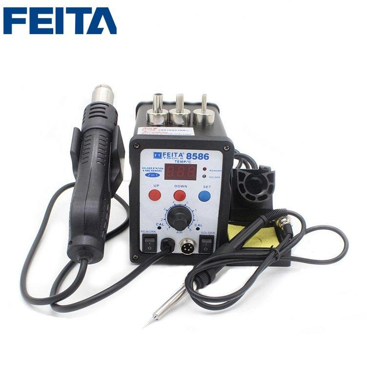 FEITA 8586 Mobile Repair Tools Soldering Desoldering Station 2 in 1 Hot Air Rework Heat Gun Electric Solder Iron Set