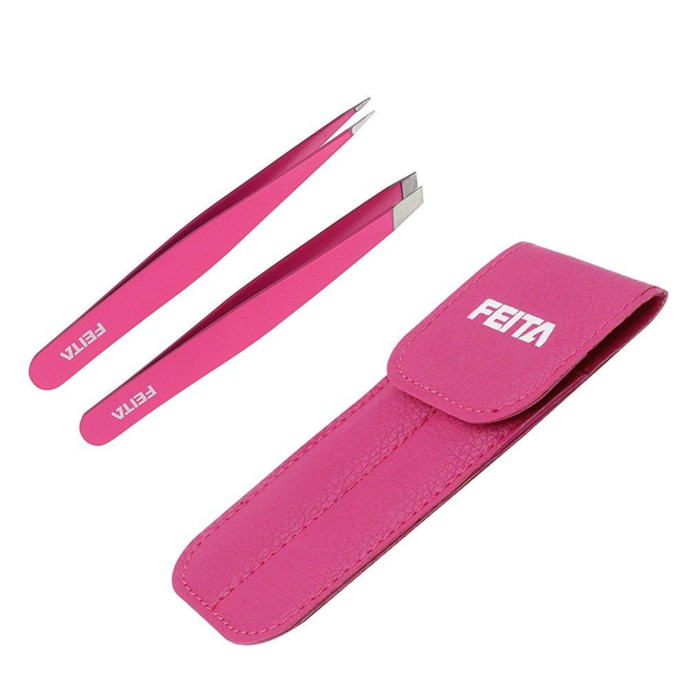 FEITA Professional Stainless Steel Slant & Pointed Tip With Travel Case Precision Pink Eyebrow Tweezers Set