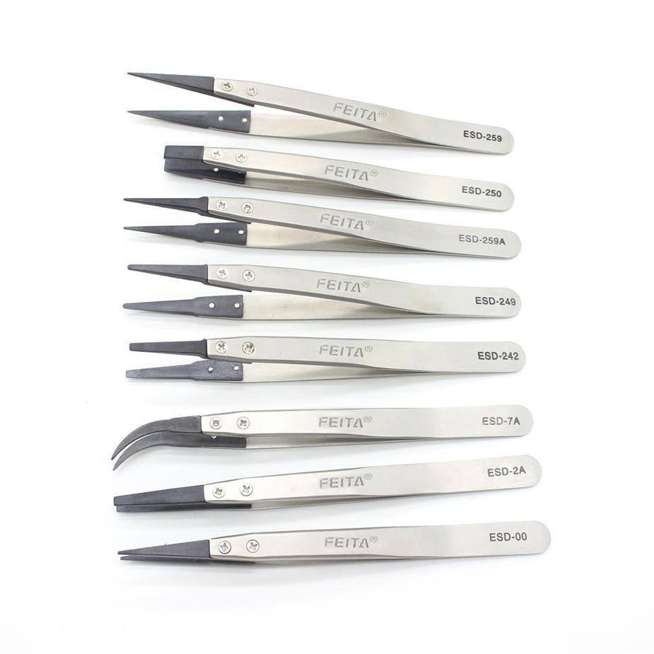 Precision Tweezers Set - FEITA Antistatic Replaceable Fiber Tip Stainless Steel ESD Tweezers for Electronics, Jewelry-Making, La