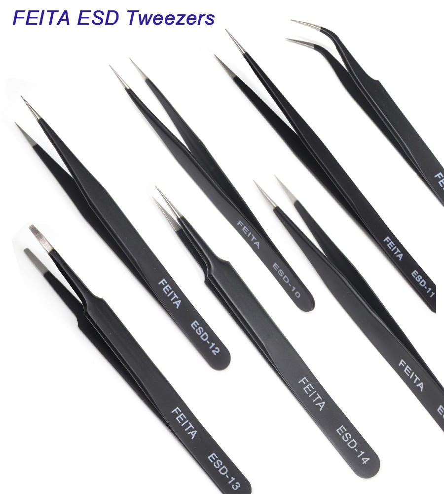 Precision Tweezer Set - FEITA Professional ESD Stainless Steel Antistatic Tweezers Kit